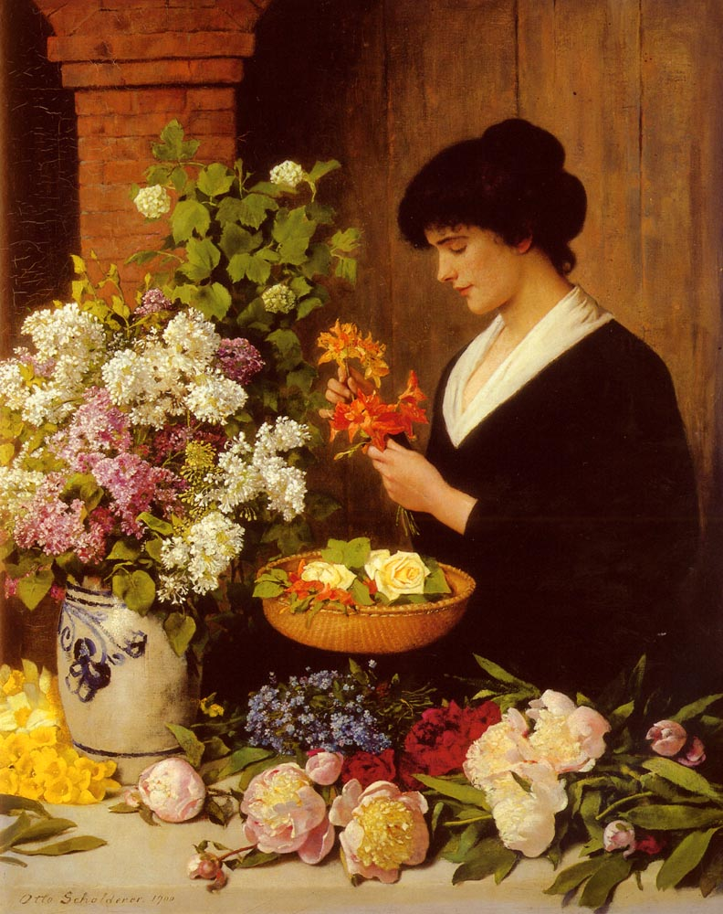 The Flower Arrangement by Otto Scholderer