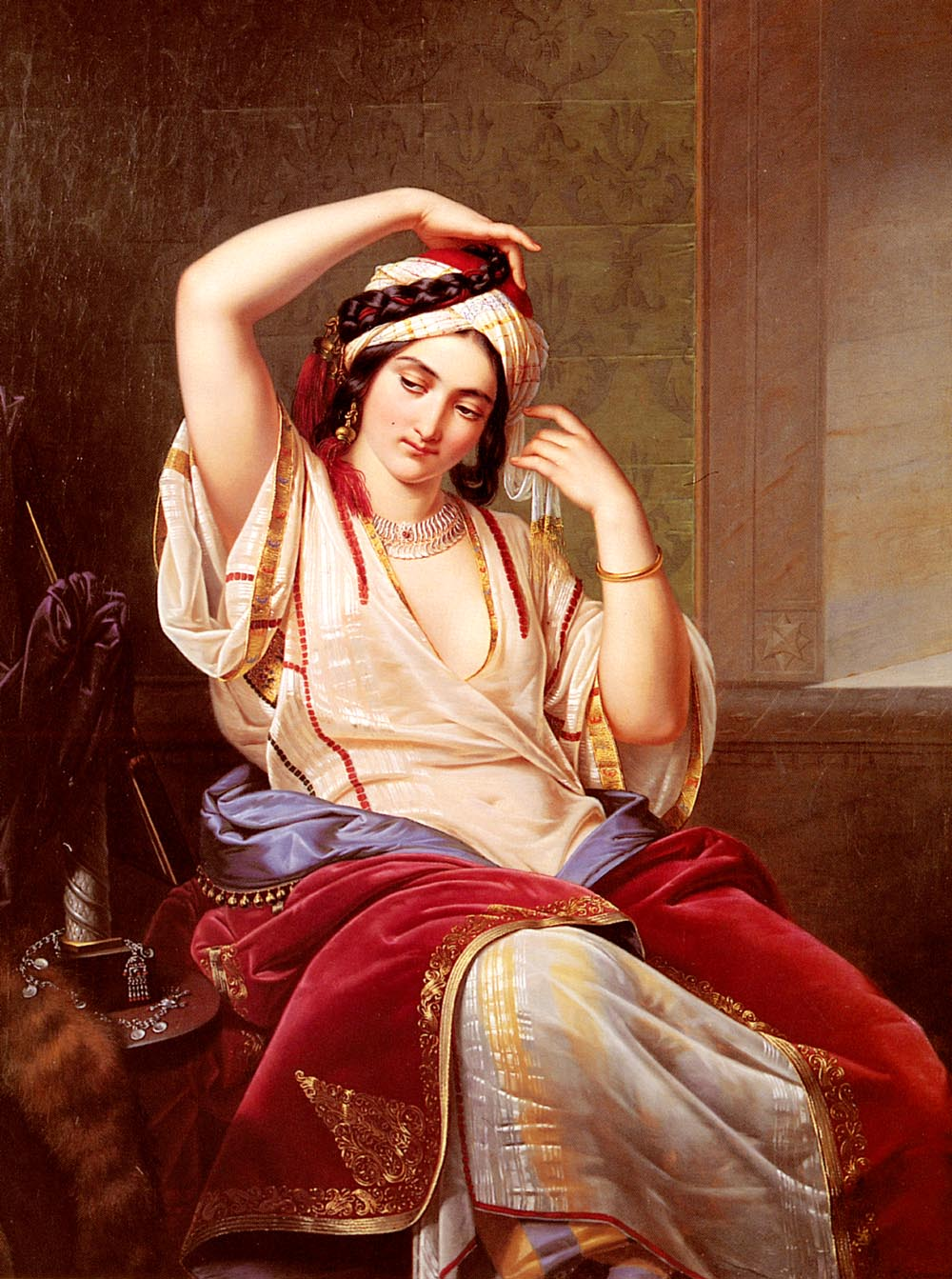 A Harem Beauty At Her Toilette by Paul Emil Jakobs