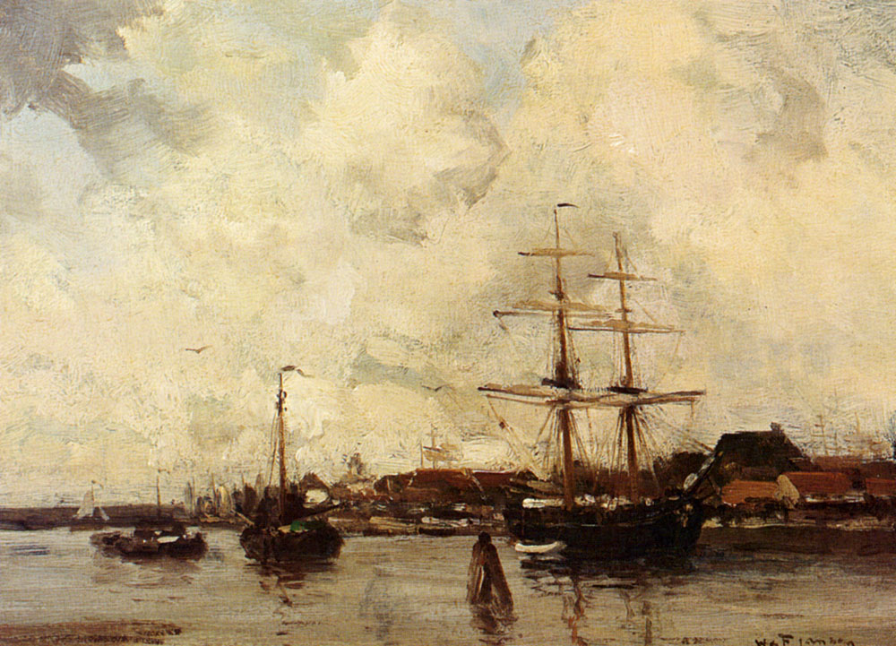 A View Of Harlingen Harbour by Willem George Frederik Jansen