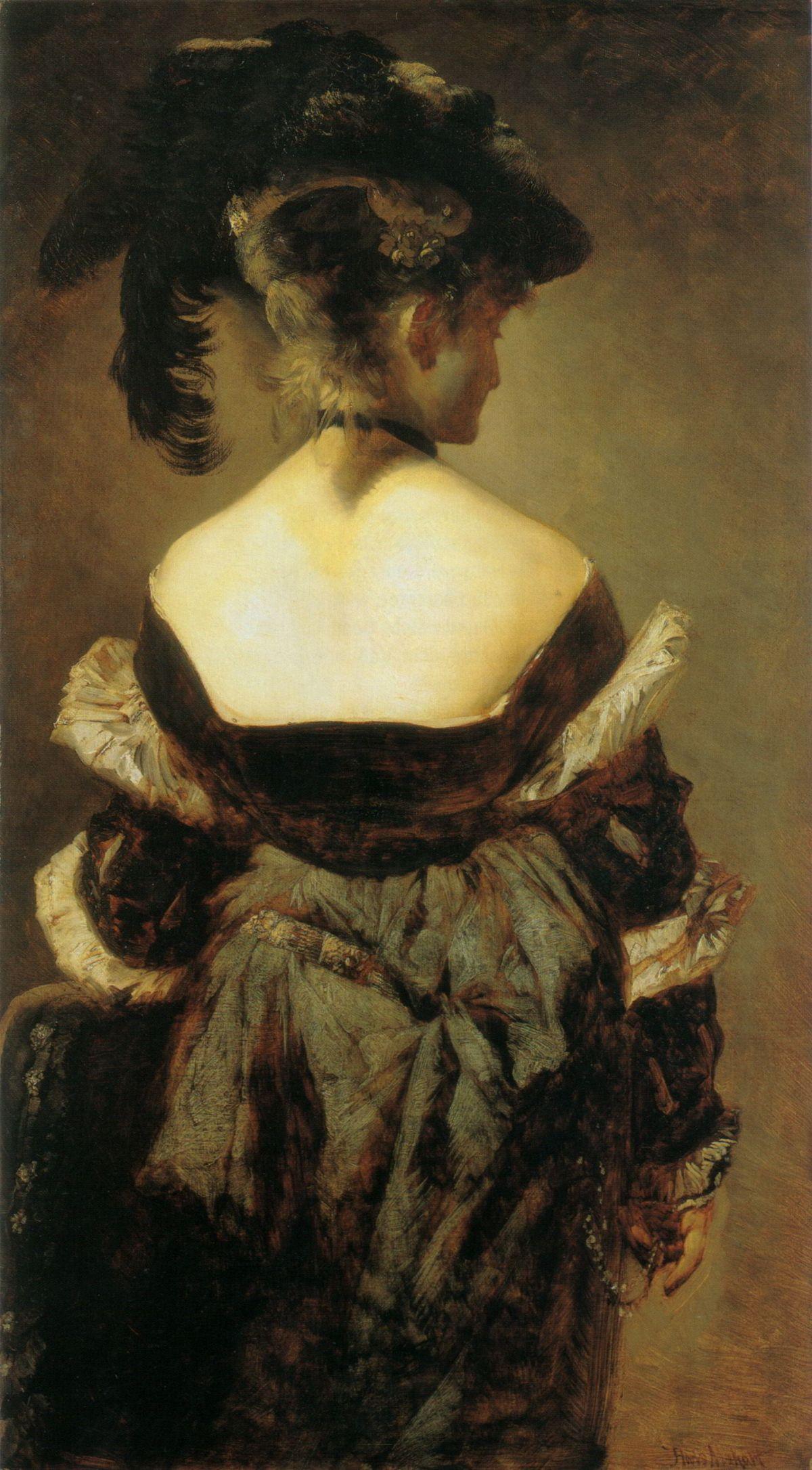 Dame mit Federhut in Rückenansicht by Hans Makart