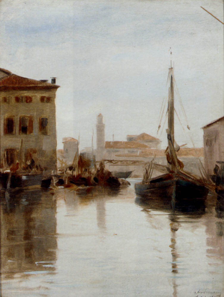 Vessels Moored On A Venetian Backwater by Adolf Schwartz