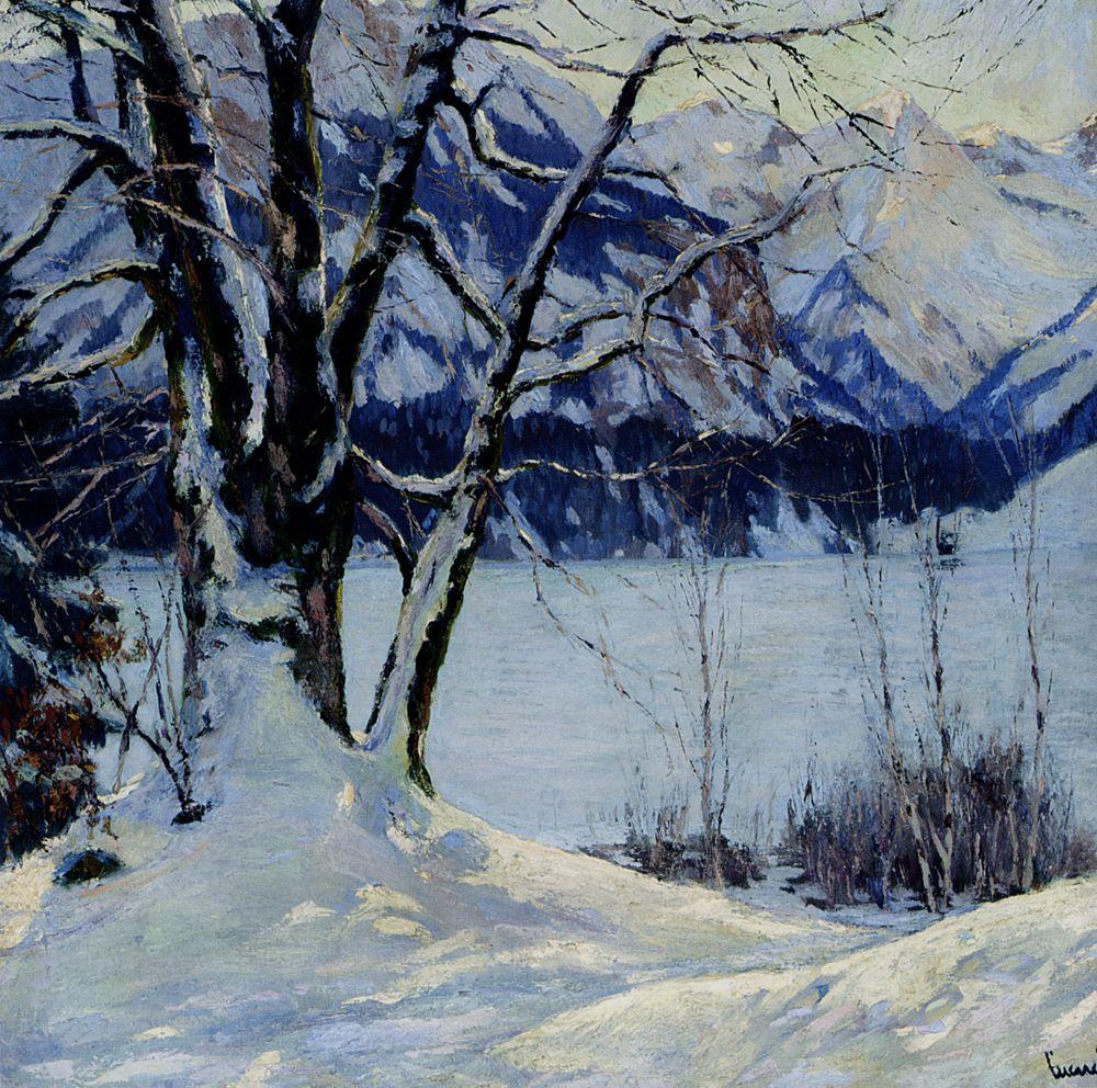 A Frozen Lake In A Mountainous Winter Landscape by Edward Cucuel
