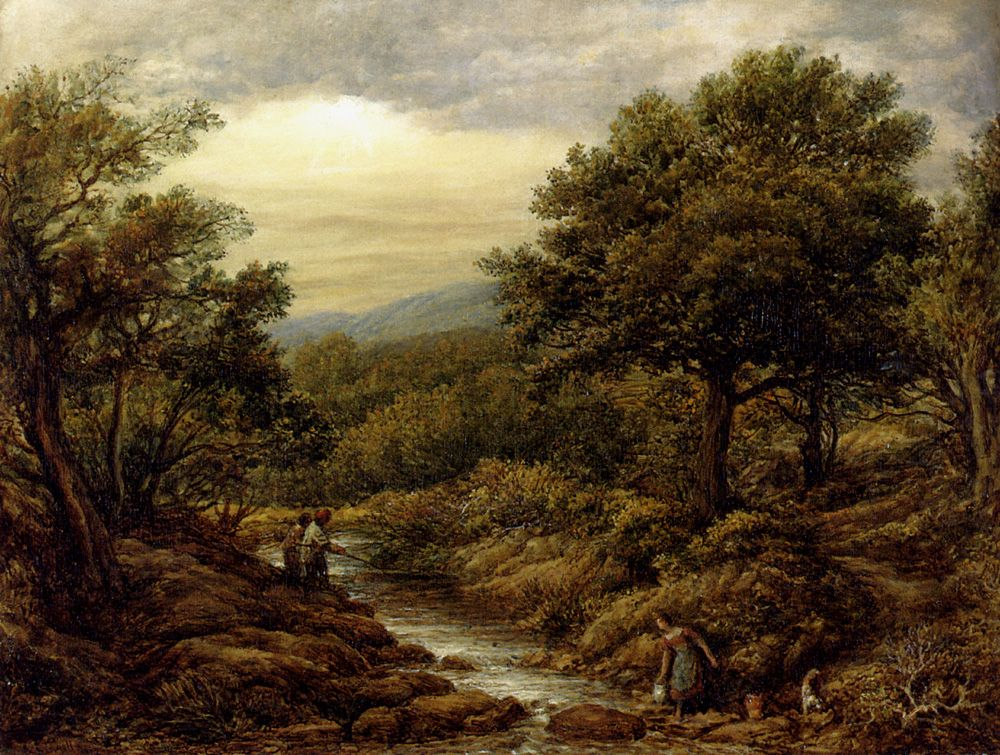 A River Landscape, With Two Boys Fishing And A Girl Fetching Water by John Linnell