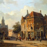 Figures in the Streets of a Dutch Town by Adrianus Eversen