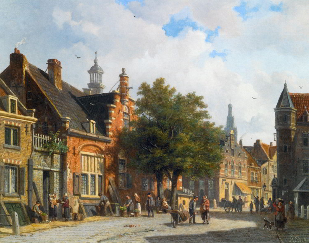 Figures in the Sunlit Streets of a Dutch Town by Adrianus Eversen