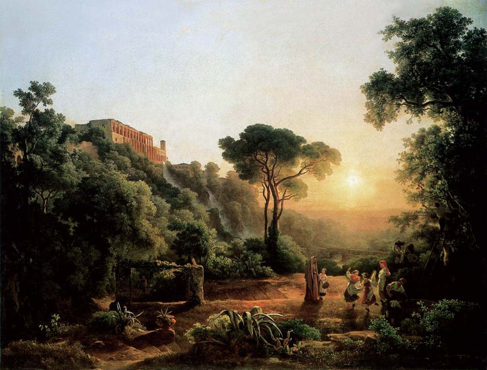 Landscape near Tivoli with Vintager Scens by Karoly the Elder Marko