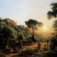 Landscape near Tivoli with Vintager Scens by Karoly, the Elder Marko