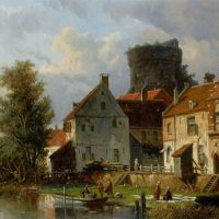 Many Figures in a Waterfront Town by Adrianus Eversen