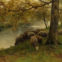 Sheep Watering by a River by Anton Mauve