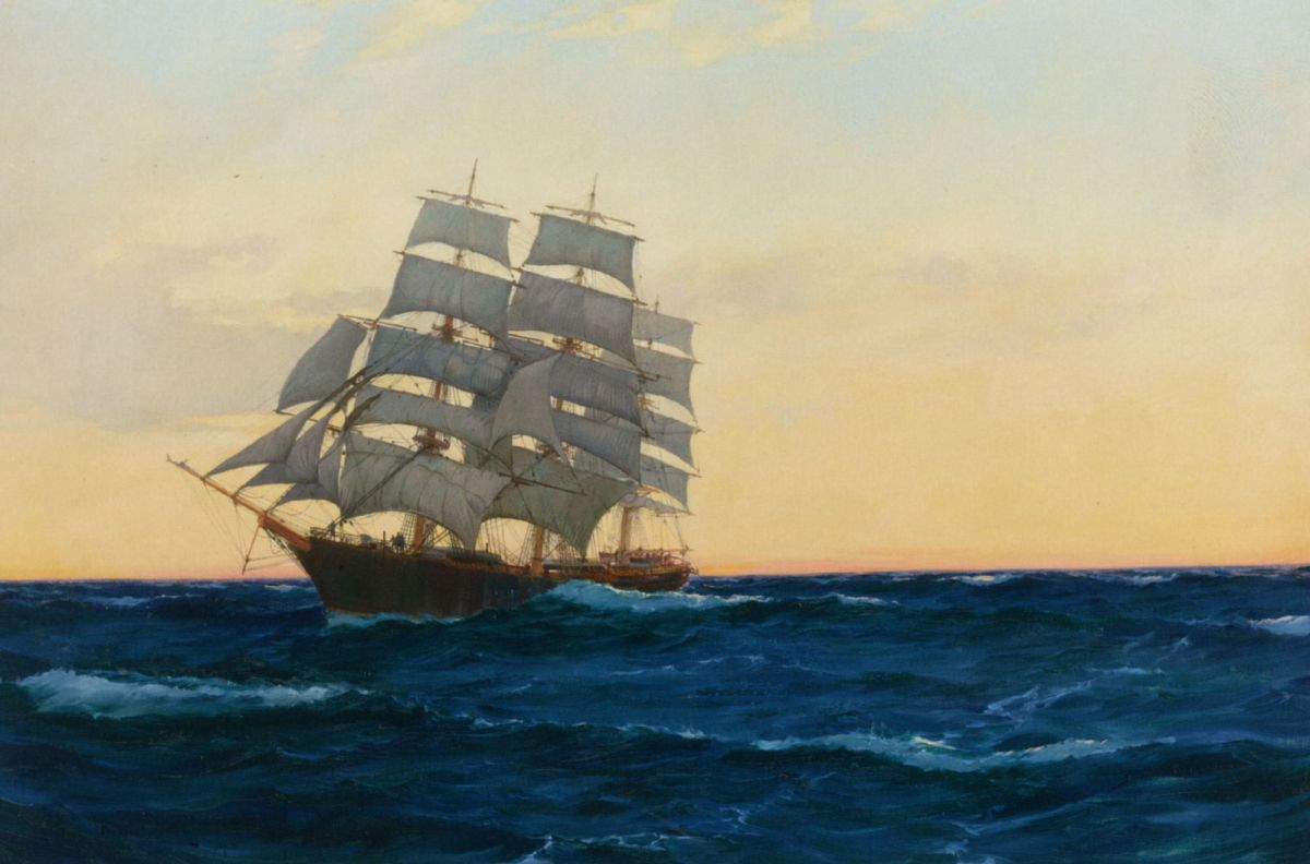 Sunset at Sea by Montague Dawson