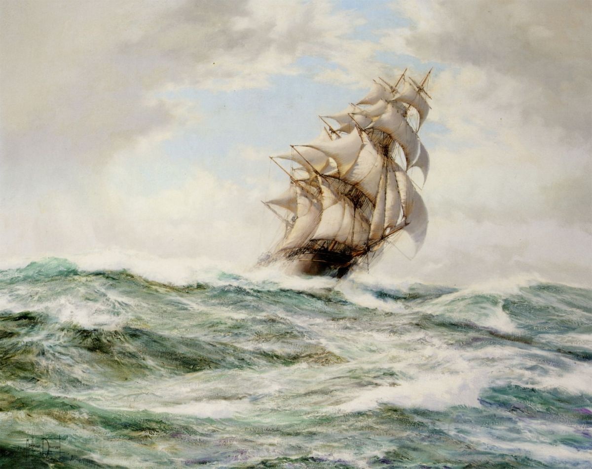 The Sweep Stakers Driving Hard by Montague Dawson