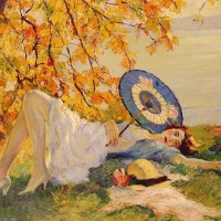 Woman Reclining by a Lake by Edward Cucuel