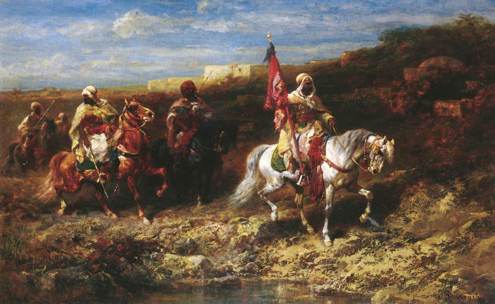 Arab Horseman In A Landscape by Adolf Schreyer