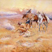 Blackfeet Burning Crow Buffalo Range by Charles Marion Russell