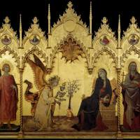 The Annunciation and Two Saints by Simone Martini