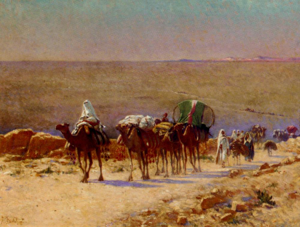 The Caravan In The Desert by Alexis Auguste Delahogue