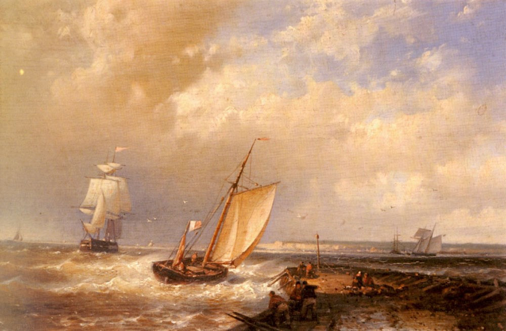 A Dutch Pink Heading Out To Sea, With Shipping Beyond by Abraham Hulk Snr