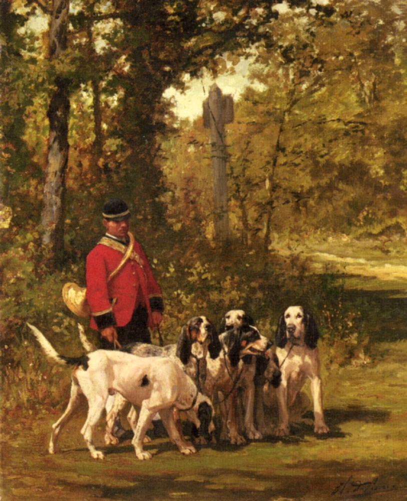 A Huntmaster with his Dogs on a Forest Trail by Charles Olivier De Penne