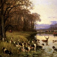 A Stag At Bay by Charles Olivier De Penne