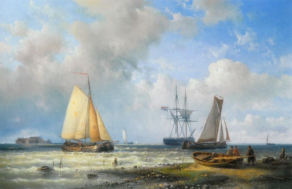 Dutch Barges in a Calm by Abraham Hulk Snr