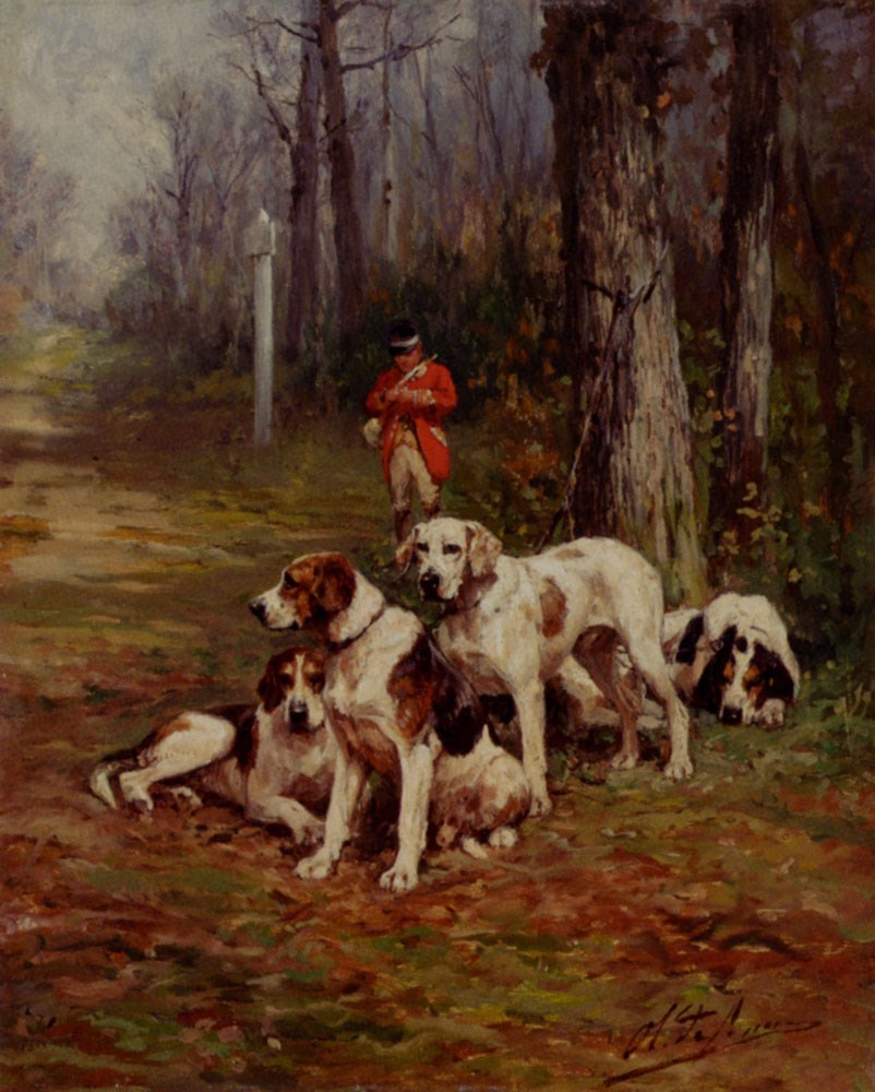 Hunting Dogs At Rest by Charles Olivier De Penne