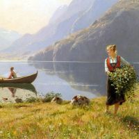 On The Banks of the Fjord by Hans Dahl