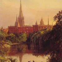 A View in Central Park ­The Spire of Dr. Hall's Church in the Distance by Jasper Francis Cropsey