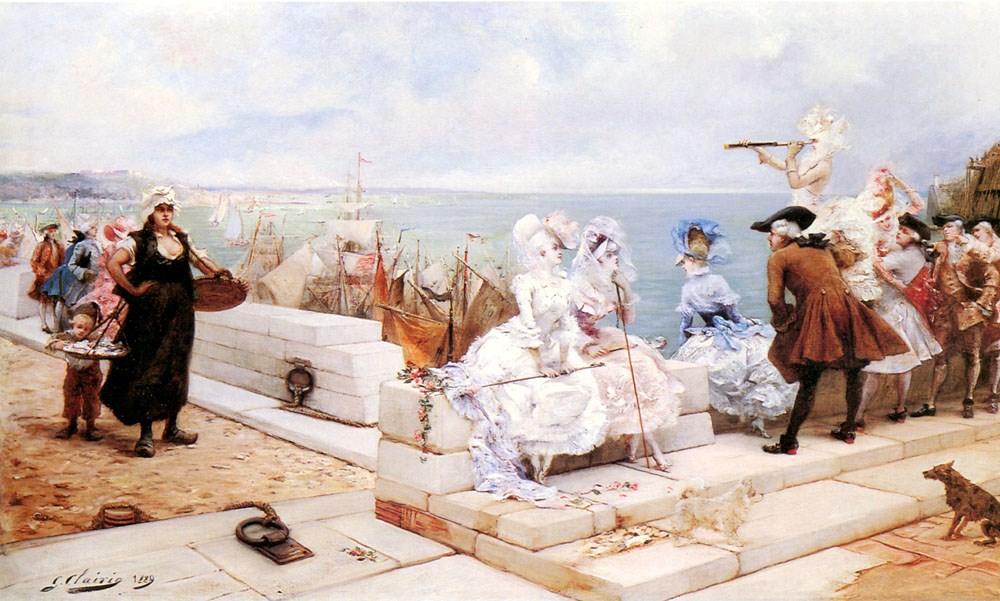 Elegant Figures Watching the Regatta by Georges Jules Victor Clairin