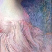 Femme en robe rose by Edmond Francois Aman Jean