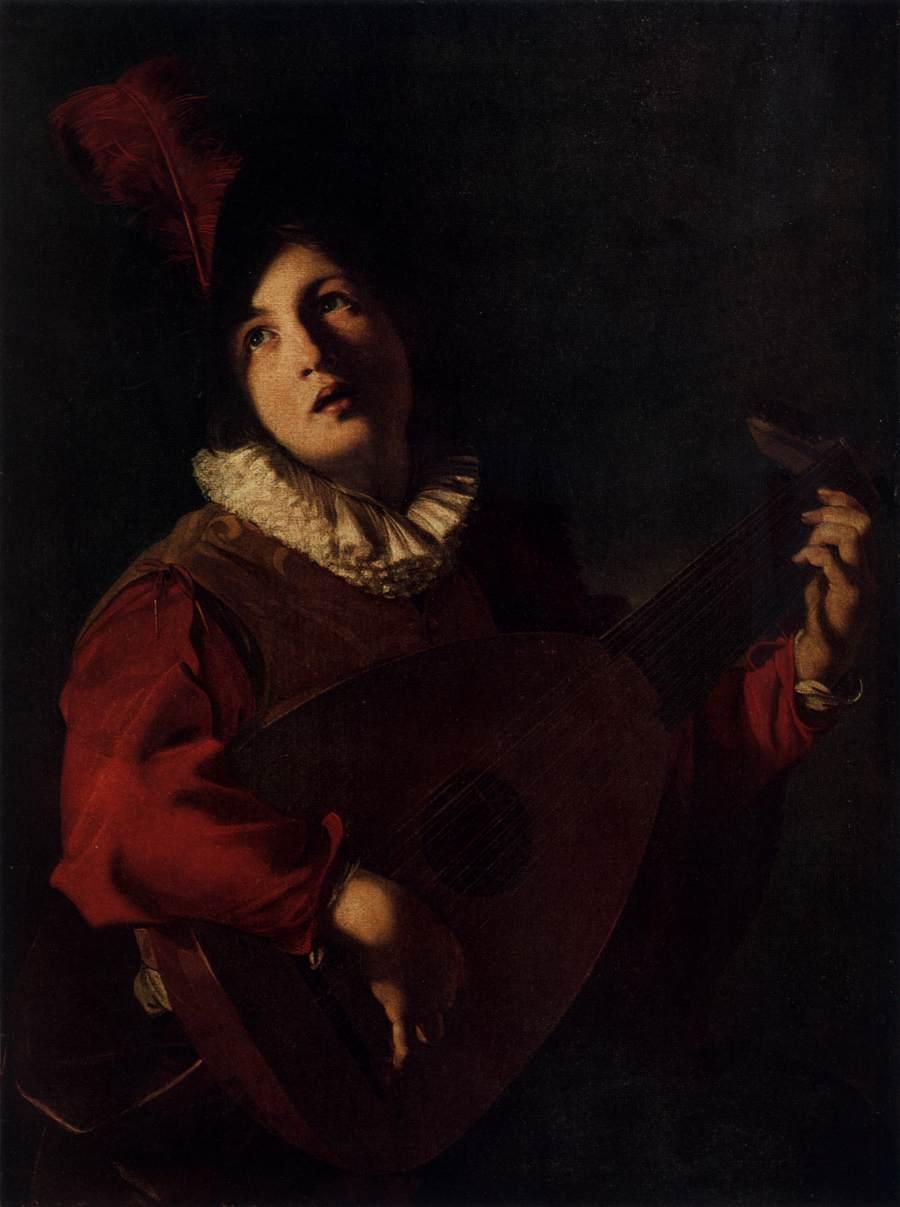 Lute Playing Young Man by Bartolomeo Manfredi