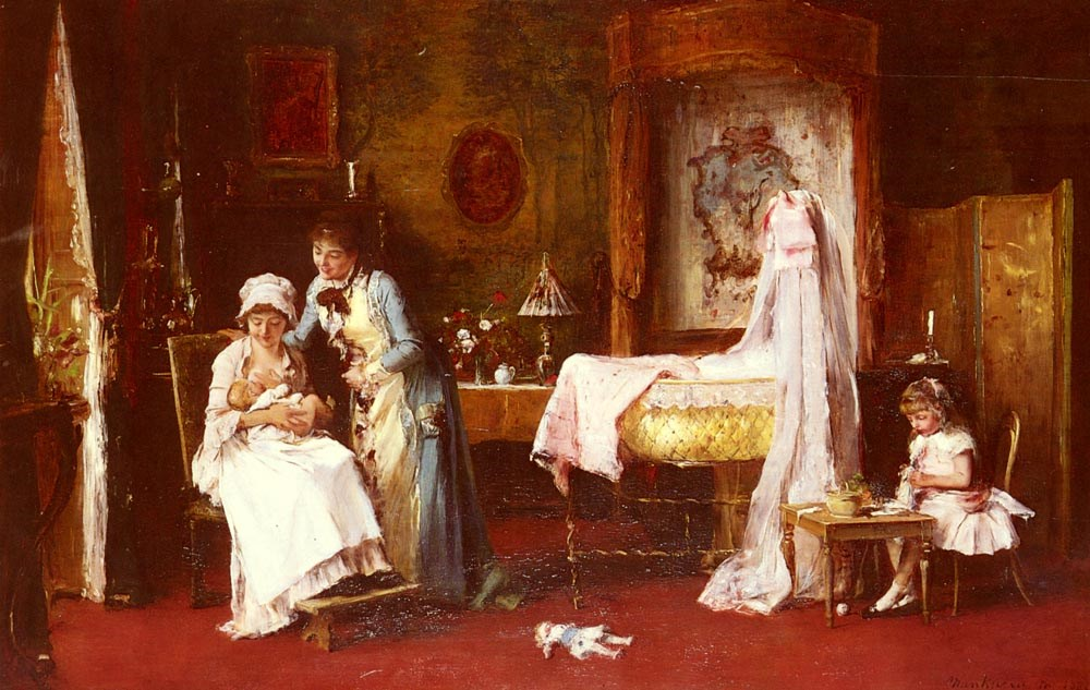 Maternal Happiness by Mihaly Munkacsy