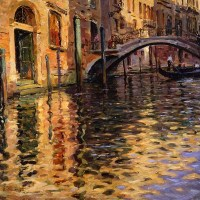 Pont del Angelo, Venice by Louis Aston Knight