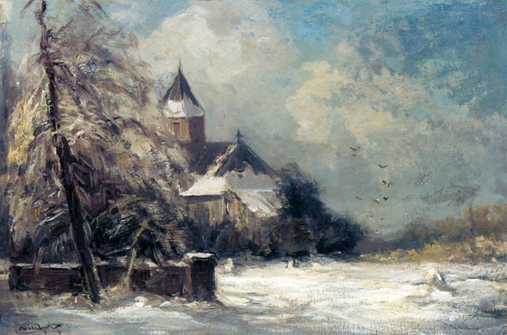 A Church In A Snow Covered Landscape by Louis Apol
