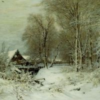 A Cottage in a Snowy Landscape by Louis Apol