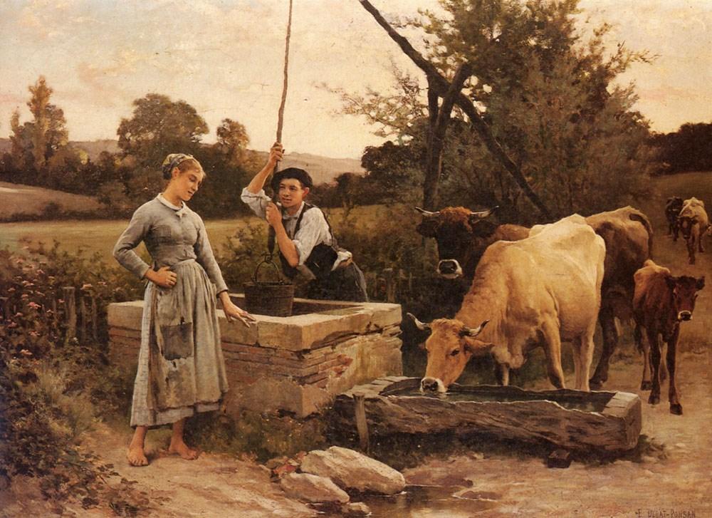 At the Well by Edouard Bernard Debat Ponsan