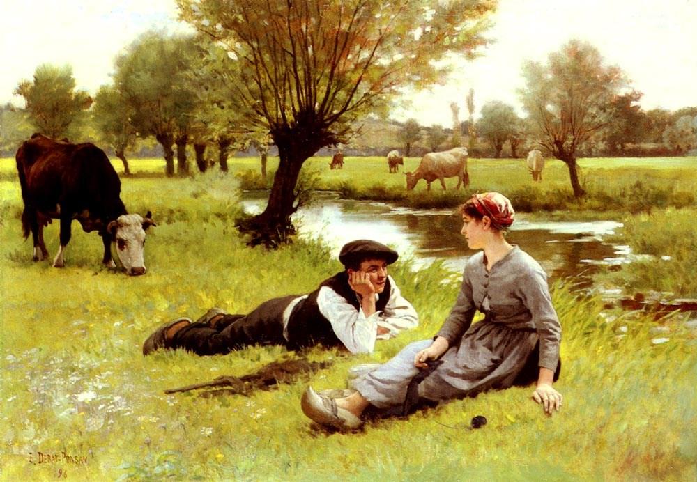 Le Flirt by Edouard Bernard Debat Ponsan