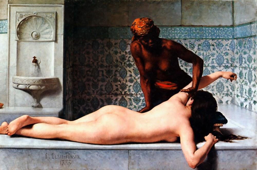 Le Massage scene de Hammam by Edouard Bernard Debat Ponsan