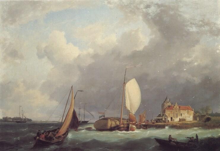 Shipping off the Dutch Coast by Hermanus Koekkoek Snr