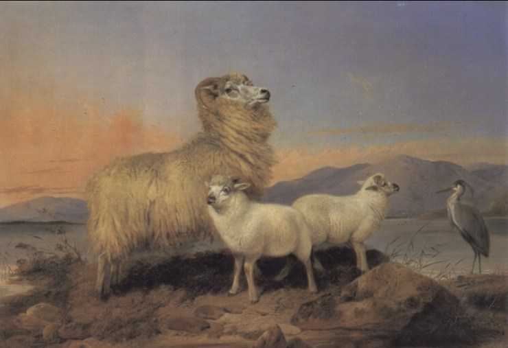 A Ewe with Lambs and a Heron Beside a Loch by Richard Ansdell