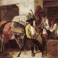 At The Blacksmiths Shop by Richard Ansdell