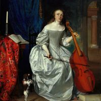 Woman Playing the Viola da Gamba by Gabriel Metsu