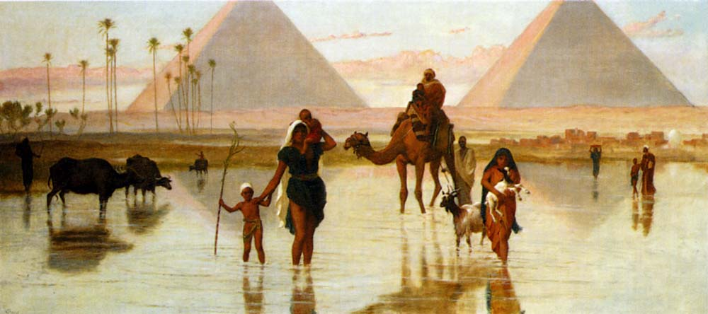 Arabs Crossing A Flooded Field By The Pyramids by Frederick Goodall
