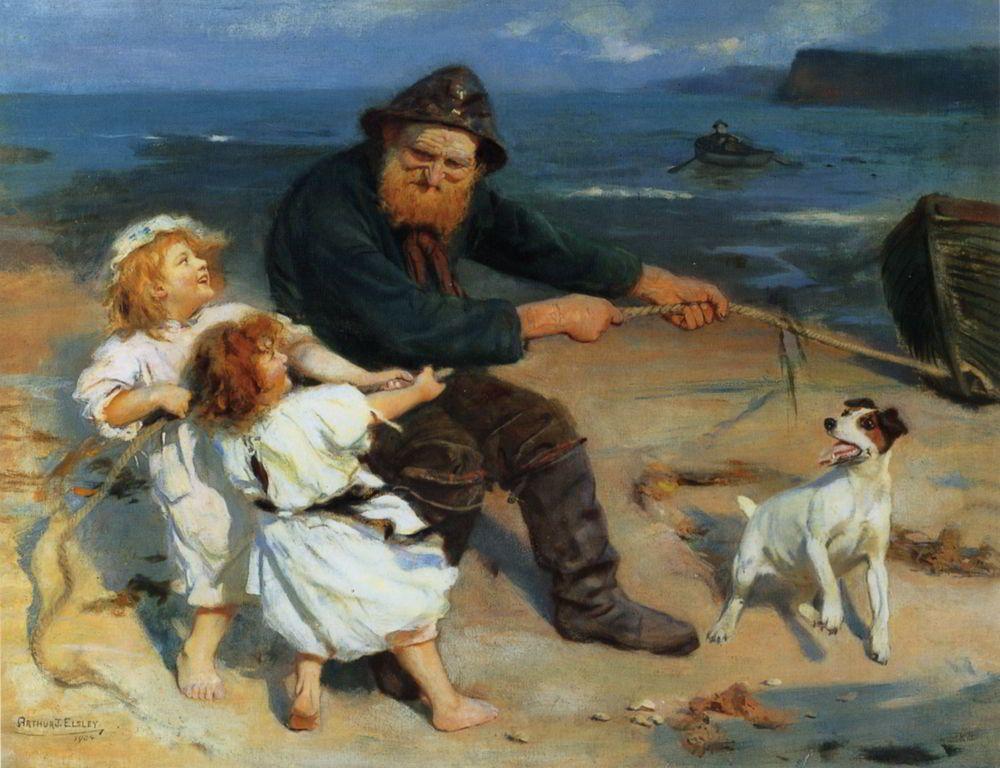 A Harbour Scene by Arthur John Elsley