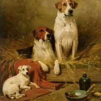 Foxhounds and a Terrier by John Emms