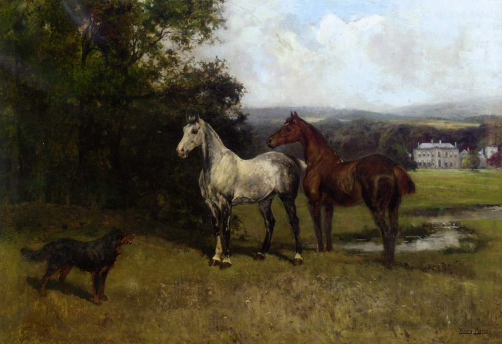 The Colonels Horses and Collie by John Emms