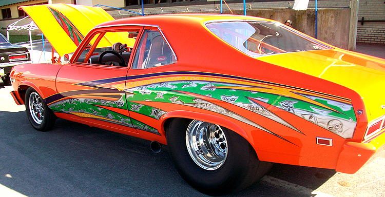 Syracuse Nationals - Colorful Car with Skulls and Zombies
