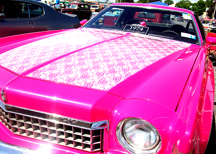 Syracuse Nationals - Pink 1974 Monte Carlo with Flower Hood