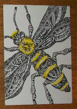 Zentangle Bug ATC - Honey Bee