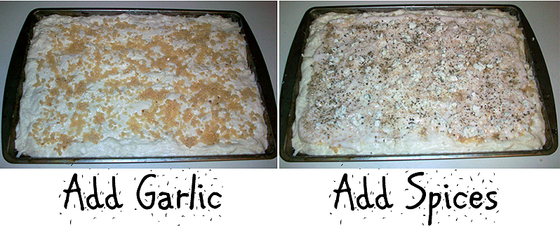 Adding Garlic and Spices to Garlic Feta Tomato Alfredo Pizza