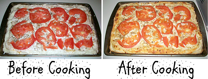 Garlic Feta Tomato Alfredo Pizza - Before and After